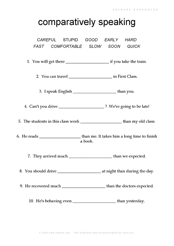 Worksheet to practise comparative adverbs
