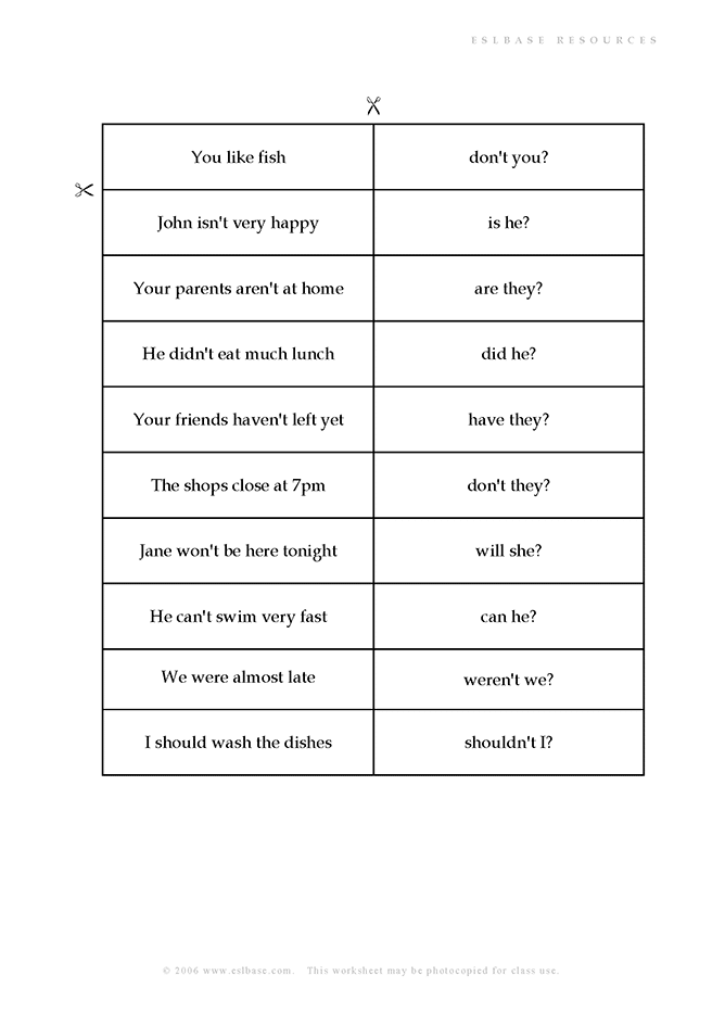 Activity to practise tag questions