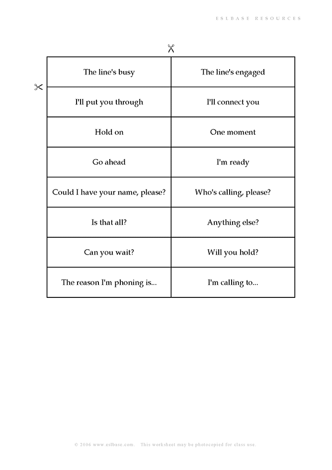 Activity to practise phrases used on the telephone