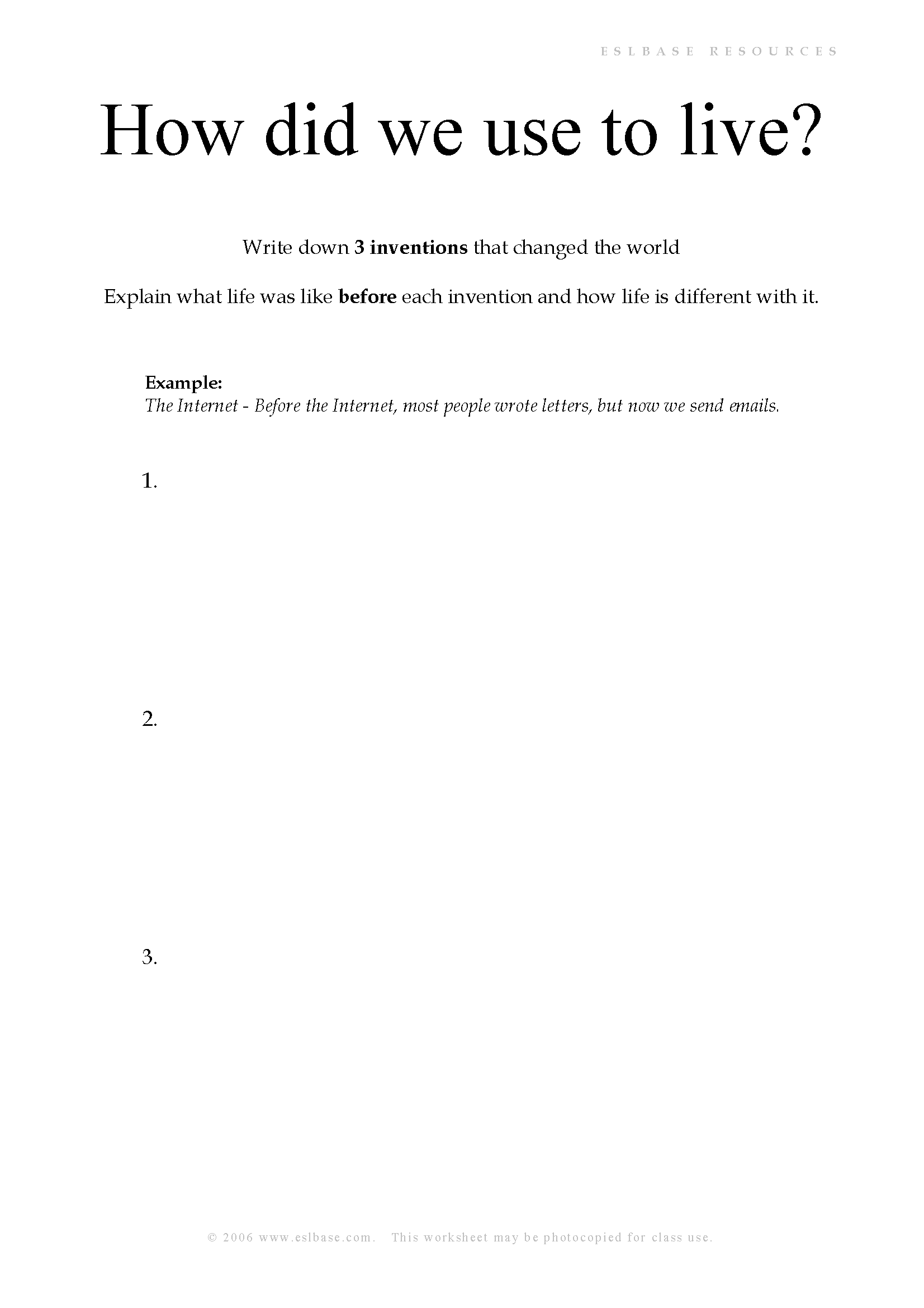 Worksheet to practise used to